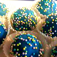 blue cake cup with sprinkles